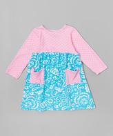 Flap Happy Winter Tide & Pink Dot Dress - Infant, Toddler & Girls