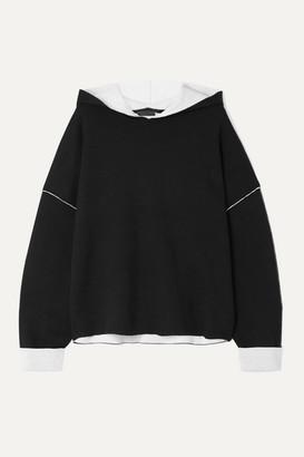 ATM Anthony Thomas Melillo Oversized Two-tone Cotton-blend Hoodie - Black