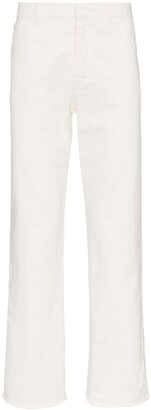 Haider Ackermann Raw Hem Tapered Cotton Denim Jeans