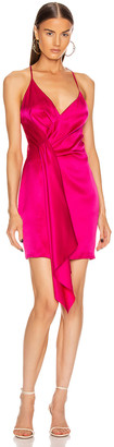 Cushnie Sleeveless Halter Neck Plunging Mini Dress in Azalea | FWRD