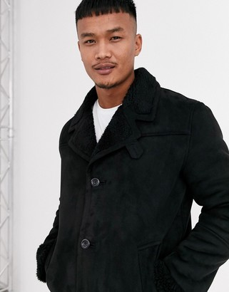 Asos DESIGN faux suede jacket in black with black teddy lining