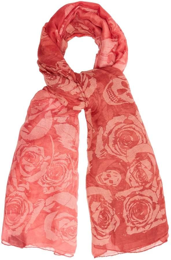 Alexander McQueen Rose and skull-print semi-sheer scarf