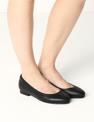 Marks and Spencer Wide Fit Leather Ballet Pumps