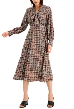 INC International Concepts Inc Petite Printed Tie-Neck Dress, Created for Macy's