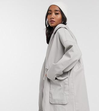 Asos DESIGN Petite lightweight parka in washed grey