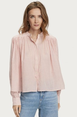 Maison Scotch Loose Shirt With Pleating In Red Stripe - Xsmall