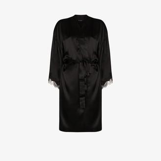 Sainted Sisters Scarlett lace trim silk kimono robe