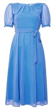 Dorothy Perkins Womens **Billie & Blossom Petite Blue Puff Sleeve Midi Skater Dress, Blue