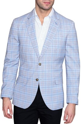 Tailorbyrd Blue Plaid Two Button Notch Lapel Modern Fit Sport Coat