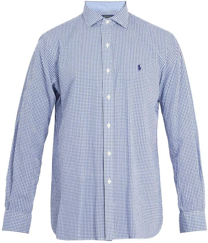 Polo Ralph Lauren Logo-embroidered gingham cotton-blend shirt
