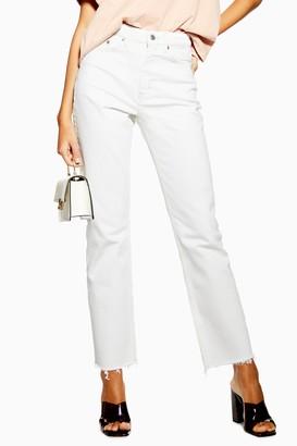 Topshop Womens Ecru Straight Jeans - White