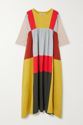 L.F. Markey Dustin Patchwork Cotton Midi Dress - Red