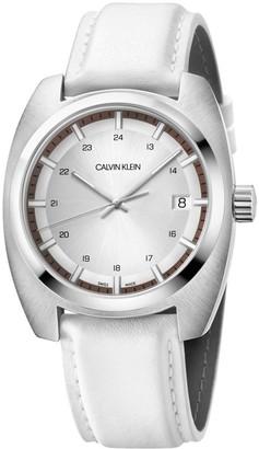 Calvin Klein Men's Stainless Steel Quartz Watch with Leather Strap White 22 (Model: K8W311L6)