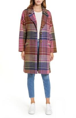 Halogen Plaid Tweed Coat