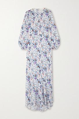 Fleur Du Mal Floral-print Silk-georgette Maxi Dress - White