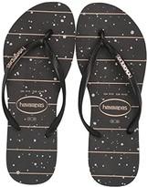 Havaianas Slim Logo Metallic Sandal (Black/Black/Rose Gold Metallic) Women's Shoes