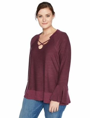 One World ONEWORLD Women's Plus-Size Long Sleeve Criss Cross Keyhole Sweatshirt