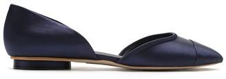 Sarah Chofakian Satin leather ballerina shoes