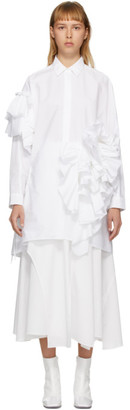 Enfold White Typewriter Pleats Cutout Shirt
