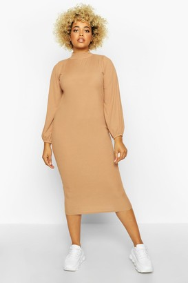 boohoo Plus Rib High Neck Blouson Sleeve Midi Dress