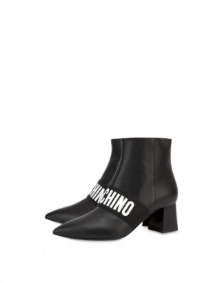 Moschino Elastic Band Leather Ankle Boots Woman Black Size 36 It - (6 Us)