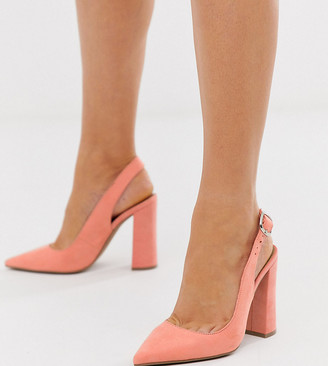 Asos Design DESIGN Wide Fit Penley slingback high heels in peach-Orange