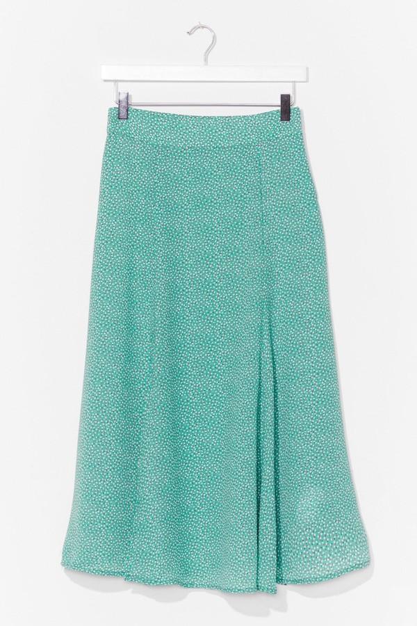Nasty Gal Womens Polka Dot Flowy Chiffon Midi Skirt - Green - L