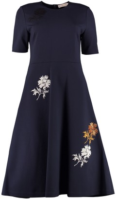 Tory Burch Embroidered Flared Midi Dress