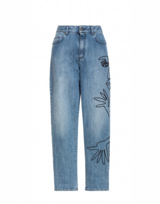 Moschino Denim Pants With Cornely Embroidery Woman Blue Size 38 It - (4 Us)