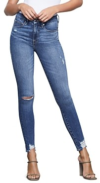 Good American Good Waist Chewed Hem Skinny Jeans in Blue349