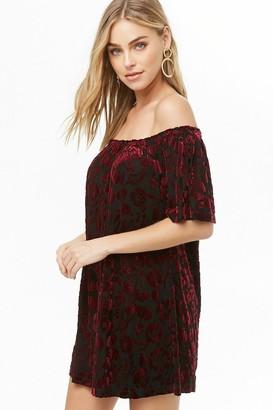 Forever 21 Off-the-Shoulder Velvet Burnout Dress