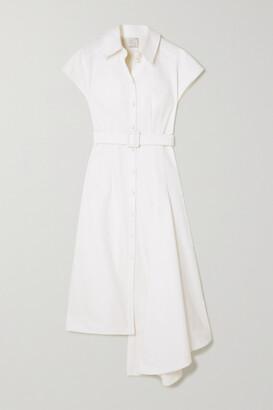 Huishan Zhang Dagmar Asymmetric Belted Cotton-blend Midi Shirt Dress - White