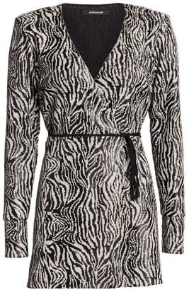 Andamane Bonnie Sequin Zebra-Print Wrap Dress