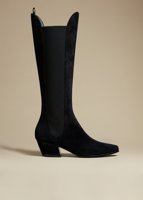 KHAITE The Chester Boot in Black Suede