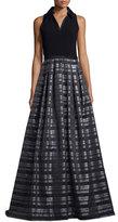 Theia Sleeveless Striped Ball Gown