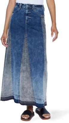 WASH LAB Mixed Denim Maxi Skirt
