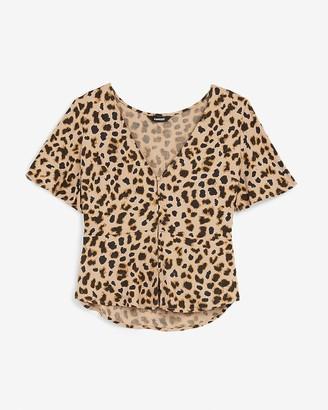 Express Leopard Button Front Short Sleeve Peplum Top