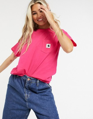 Carhartt WIP short sleeve carrie pocket t-shirt in ruby pink & ash heather
