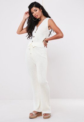 Missguided Petite Cream Rib Knitted Co Ord Wide Leg Trousers