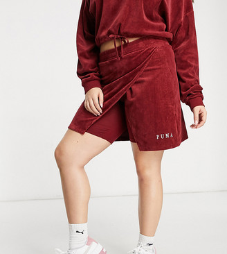 Puma Plus cord skirt in red