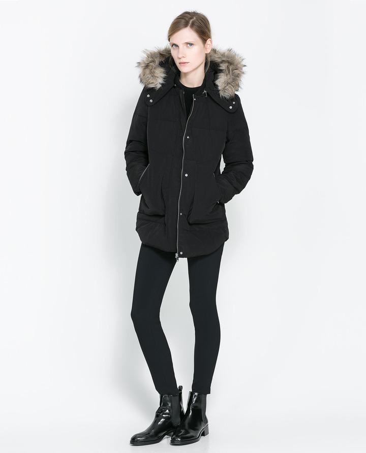 Zara Zip Puffer Jacket With Hood