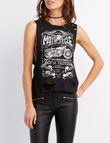 Charlotte Russe Motorcyle Distressed Muscle Tee