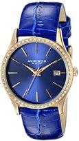 Akribos XXIV Women's AK883BU Round Blue Dial Three Hand Quartz Rose Gold Tone Strap Watch