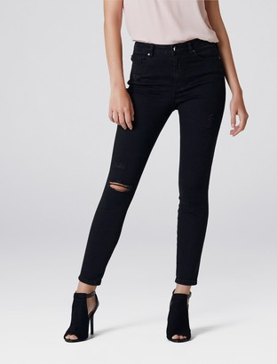 Forever New Lily High Rise Ankle Grazer Jeans - Onyx Distressed - 04L30