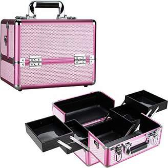 Ver Beauty 2-tiers extendable trays makeup artist cosmetic storage organizer train case shoulder strap key lock