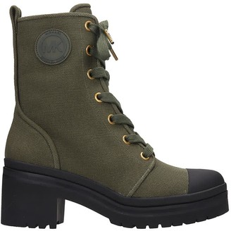 Michael Kors Corey Combat Boots In Green Canvas