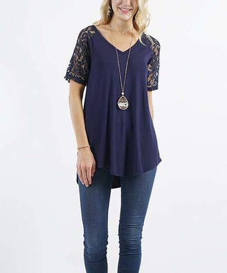 Lydiane Women's Tunics NAVY - Navy V-Neck Lace-Sleeve Curved-Hem Tunic - Women