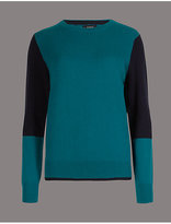 Autograph Pure Cashmere Colour Block Round Neck Jumper