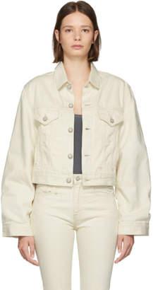 R 13 White Cropped Trucker Denim Jacket