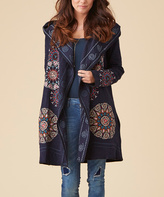 Paparazzi Navy Embroidered Hooded Cardigan